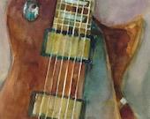 Gibson Electric Guitar  Print - Music Art Series from Original Watercolors - Size 8.5 x 11