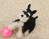 Needle Felted Animal - Black and Silver Miniature Schnauzer