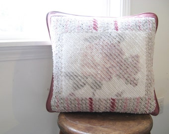 Soft Rose and White Pillow Natural with Rose Flower Image, Cottage Chic Home Decor, Faux Chenille Texture