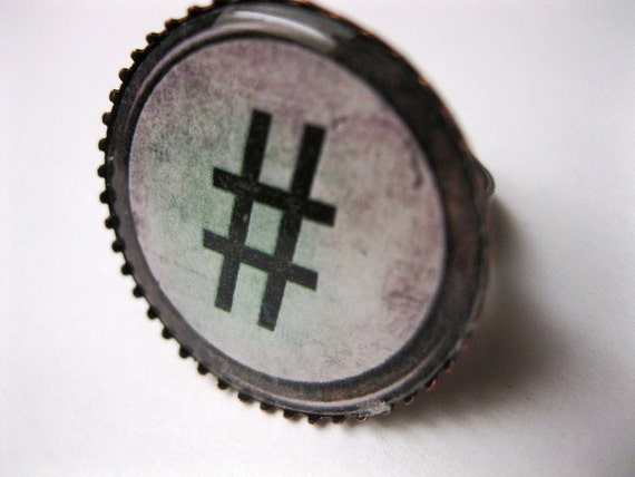Hashtag Ring, inch round in ox brass setting, image of old typewriter key displaying the Twitter Hashtag, or Number Sign in the olden days.