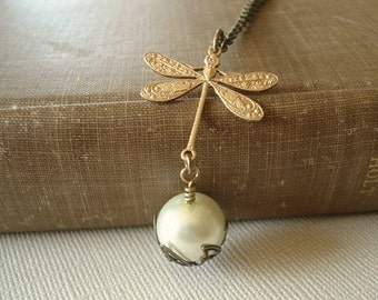 Dragonfly Necklace Gold Dragonfly Pendant Pearl Necklace Pendant Brass Dragonfly Jewelry Necklace Woodland
