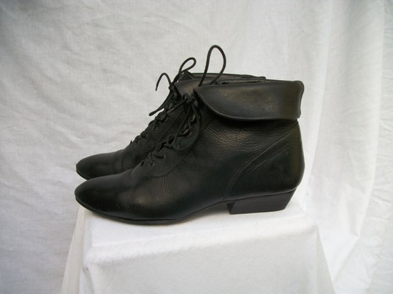 80s Black Cuffed Ankle Boots size 7 BUSKENS