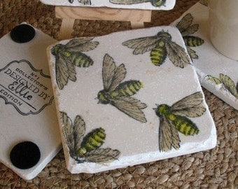 Bumblebee Absorbent Tile Coasters - Natural History Home Decor - Set of 4