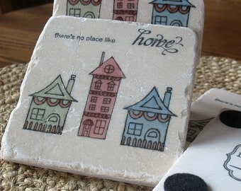 Tile Coasters - Personalized New Home Gift - There is No Place Like Home - Housewarming