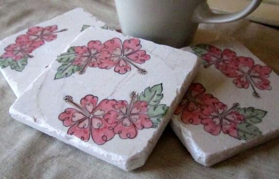 Hawaiian Coasters - Pink Hibiscus Design - Set of 4 Drink Tile Coasters
