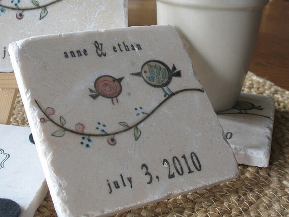 Personalized Tweet His and Her Birdie Coasters - Wedding Day Gift - For the Couple