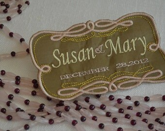 GAY AND LESBIAN Wedding Labels for Wedding Gown or Suits - Embroidery Custom Created on Silk Fabrics