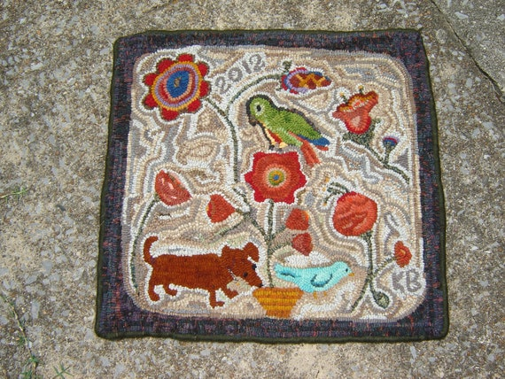 Primitive Hooked Rug dashund dog and conure bird and flowers