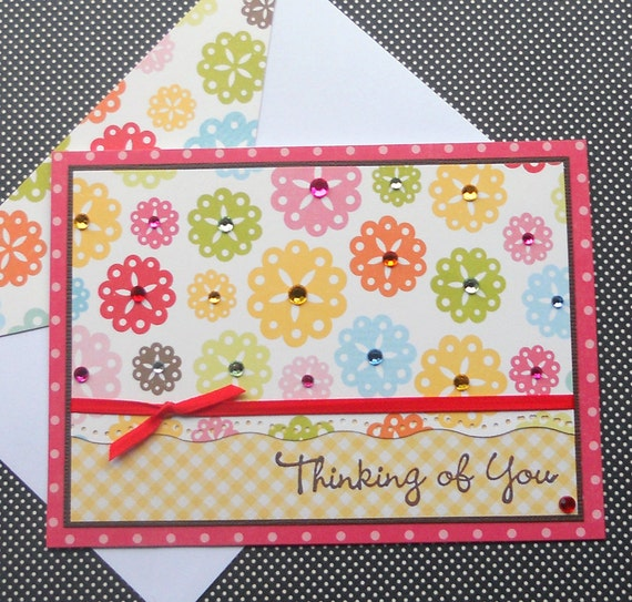Thinking of You Card with Matching Embellished Envelope - Rainbow Garden