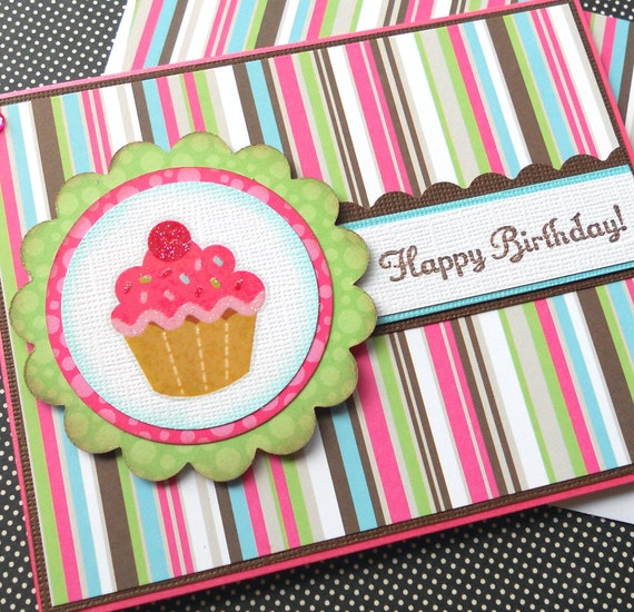 Birthday Card with Matching Embellished Envelope - Cupcake Wishes