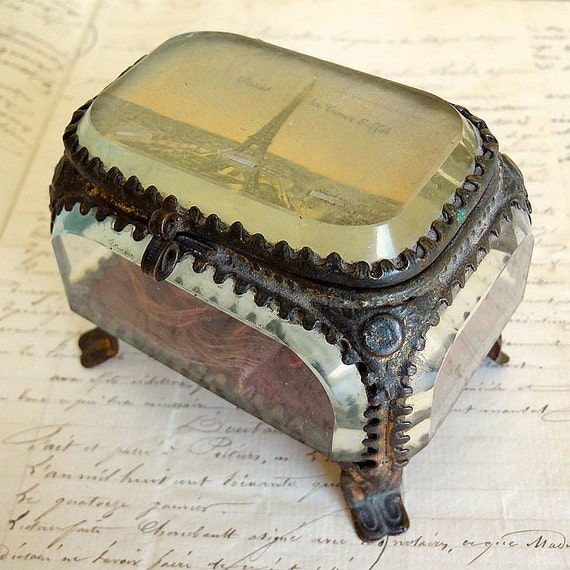 antique French jewelry box with beveled glass, Eiffel Tower souvenir