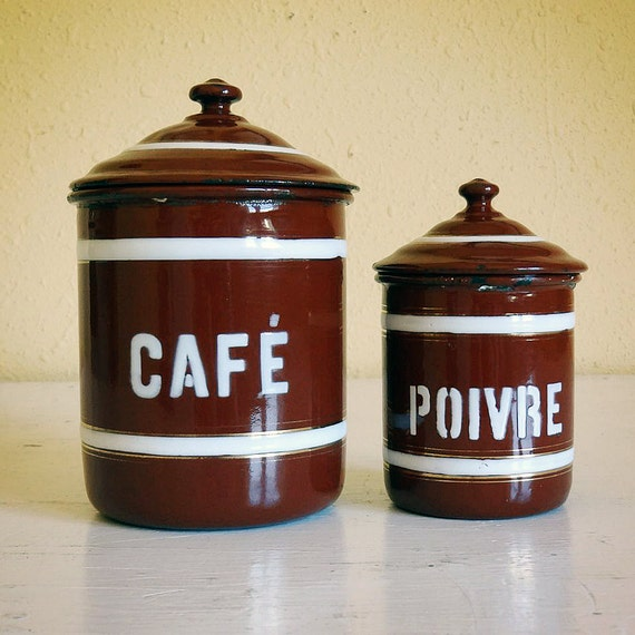 vintage French enamelware canisters, set of 2, Café and Poivre, reddish brown with white