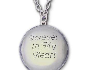 Silver Locket with Custom Engraving - Insert or Replace Your own Photos -