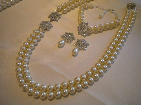 Haleigh - Bridal Pearl Necklace Bracelet Earrings set Double Strand Wedding jewelry set Bridal Accessories PS011