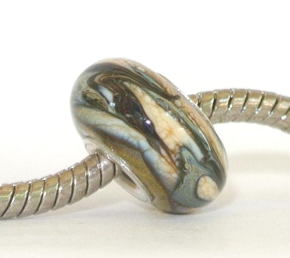 Artisan Lampwork Glass Bead fits Troll Bead, Biagi and ALL Big Hole Bead European Charm Bracelets - Desert Sand Storm BHB