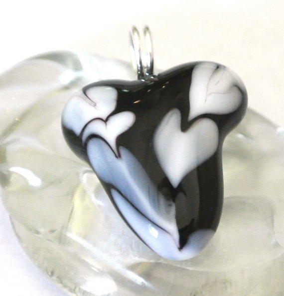 Lampwork Glass Focal Heart - Black and White Cascading Heart