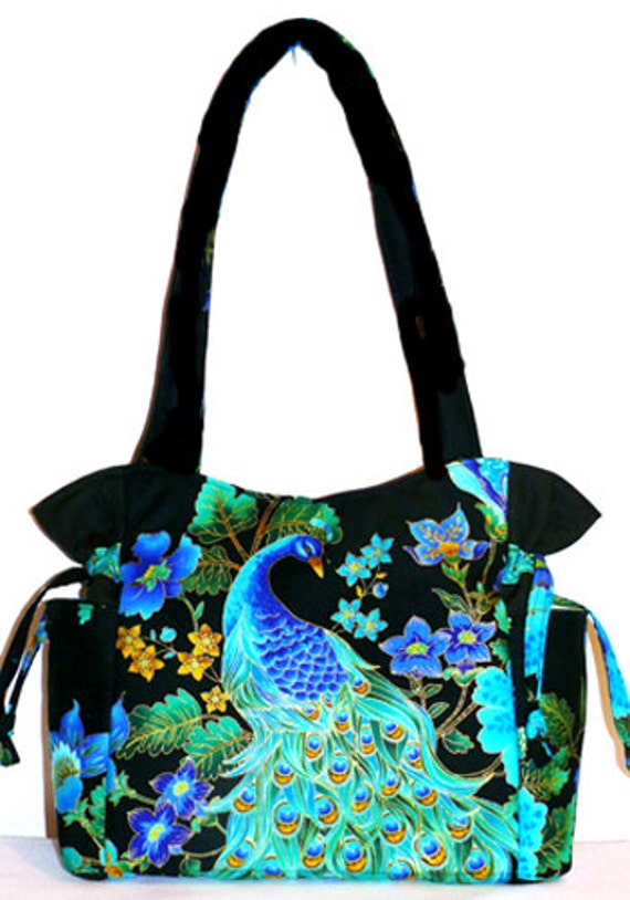 Peacock Blue Green Black Handbag Purse Tote Shoulder Bag