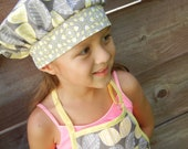 Girls Apron and Chef hat in yellow and gray flowers