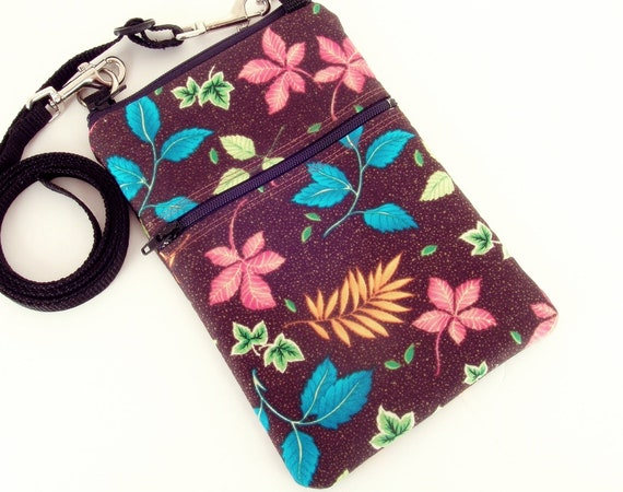 Small Shoulder Bag, Cross Body Bag, Sling Purse in Brown with colorful  leaves