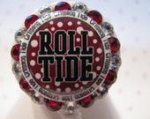 Crimson Tide University of Alabama Name Tag ID Badge Holder Reel using Swarovski Elements