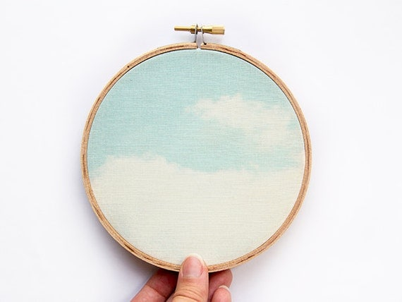Dreamy Clouds Photograph Fabric Art - 5 inch hoop - Blue Sky - Abstract Minimalist Photograph - Original Textile - Wall Hanging Hoop