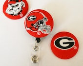 Your Favorite Team Covered Buttons Retractable Badge Reels ID Holders Georgia Bulldogs