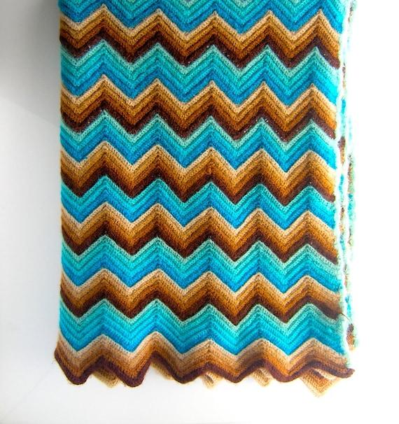 70s Missoni Style Knit Blanket Or Sofa Throw Herringbone