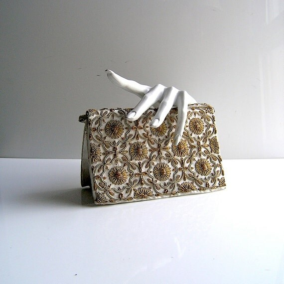 RESERVED - Gatsby chic evening bag - Lesage style embroidery 1960s French elegance - Mad Men formal clutch - 1950s fashion