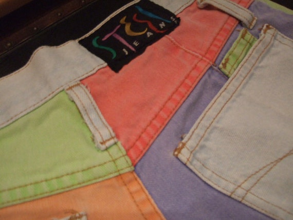 Vintage 80's 90's High Waisted Color Block Mom Jean Shorts...