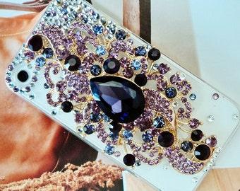 Apple Iphone Case 5 or 4s, Purple Gem Mix Iphone rhinestone case