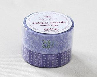 Colte Washi Masking Tape - Purple Flowers & Dots - Antique Marche - Wide Set 2