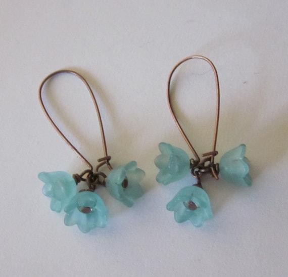 Jewelry Bell Flower Earrings in Aqua
