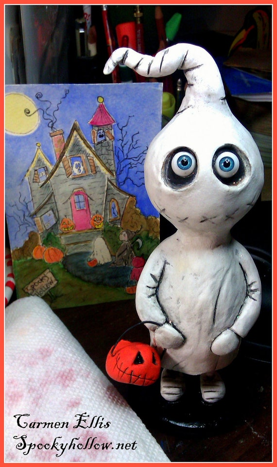OOAK Grimmy ghost Halloween art doll