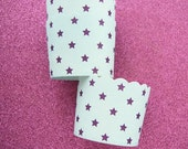 Baking Cups in Light Blue and Purple Stars (12)