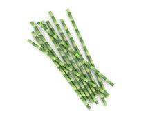 Bulk Paper Straws Green Bamboo Paper Straws and PDF Printable Party Flags 144