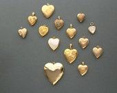 Vintage Heart Locket . Large 1940s Gold Filled Hayward . Pink Rose  .