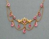 Antique Art Nouveau Jewelry Necklace . Pink . Festoon .