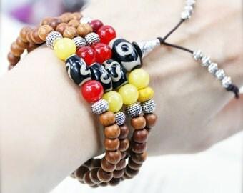 Magnetizing 108 small japa mala (SJM) - Bayong wood, howlite, jade and Dzi beads.