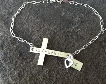 Silver sideways cross hand stamped customizable bracelet for godmothers