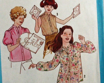 Vintage 1970s, Sewing Pattern, Simplicity 8669, Girls' Size 12-14, Blouse