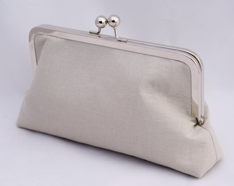ON SALE Ready to Ship Organic Clutch Handbag in Natural Cotton Hemp Perfect Holiday Gift or Wedding Party Gift