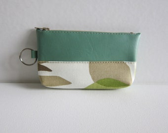 SALE - Key and Coin Pouch with Zipper in Foliage Print - Ready to Ship
