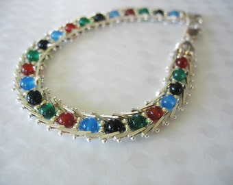 Silver Link Bracelet Glass Beaded Centers Milor Italy Sterling 925