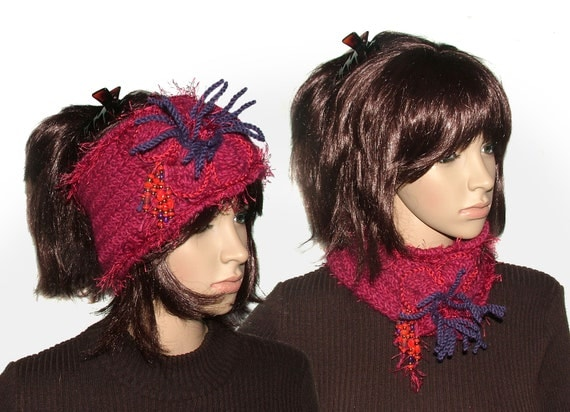Ruby Red Crochet Headband Ear warmer Cowl with large crochet flower & beads