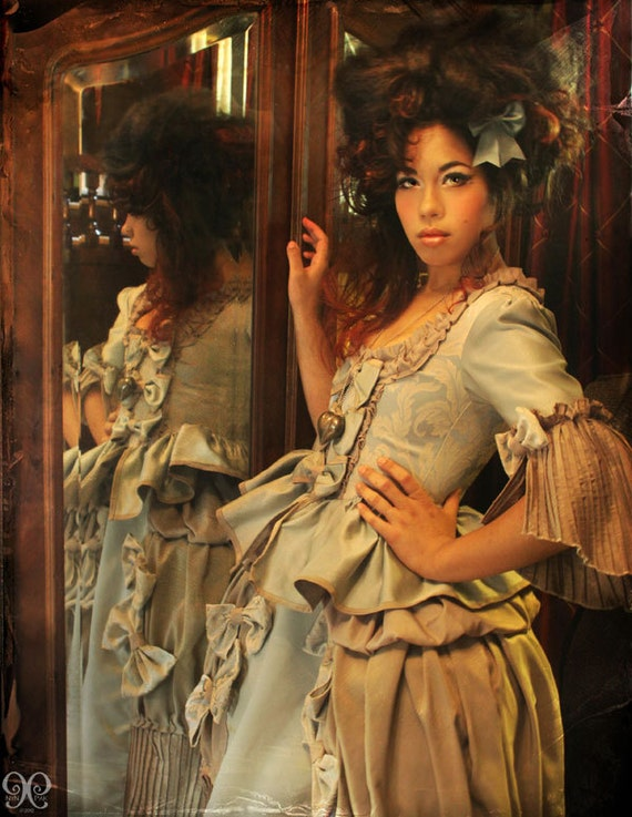 Blue steampunk Marie Antoinette rococo Victorian inspired costume dress fits waist 26 to 28 inches comes with hips