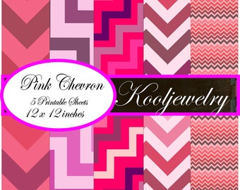 Pink Chevron paper pack 12x12 inch - No.20