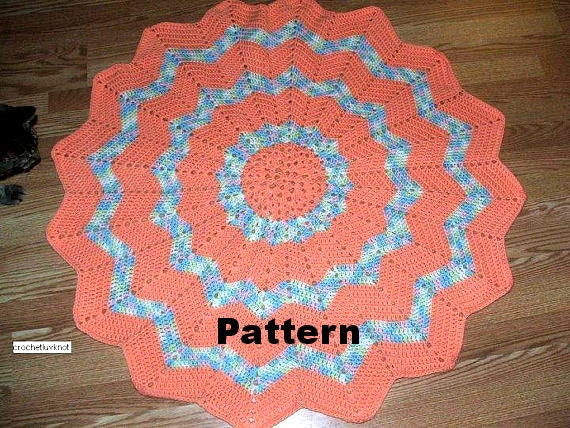 Crochet Patterns For Round Baby Blankets : Crochet Baby Blanket Pattern Round Ripple PDF