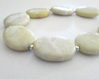 Silver Lemon Jasper Beaded Bracelet