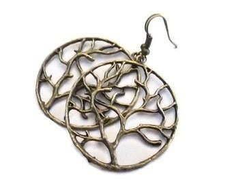 Copper Tree Of Life Hoop Earrings