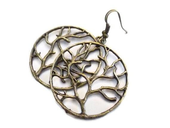 Copper Earrings, Tree of Life Earrings, Tree Earrings, Pendant Earrings, Hoop earrings